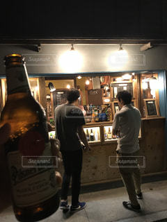 夜,後姿,ビール,友達,伊香保