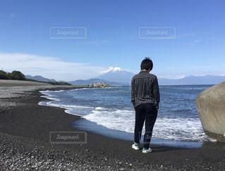 海,富士山,波,海岸,三保の松原,清水