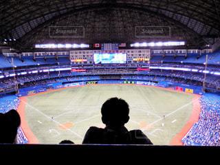 男性,屋内,海外,後ろ姿,シルエット,人物,背中,人,後姿,旅行,ドーム,野球,試合,野球観戦,大リーグ,野球ドーム