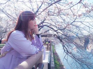 女性,風景,春,桜,屋外,お花見,人