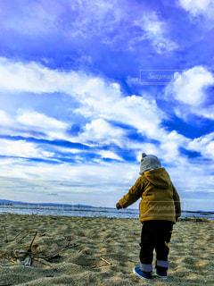 空,屋外,青空,砂浜,散歩,海岸,子供,おでかけ