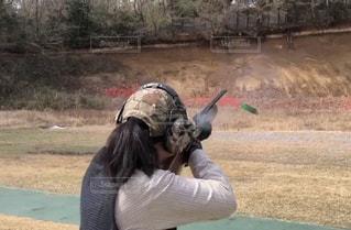 女性,後ろ姿,射撃,トラップ,クレー射撃,女性射手,射手