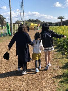 3人,後ろ姿,菜の花,景色,女,子供,背中,後ろ,インスタ,インスタ映え