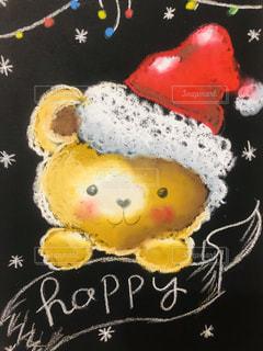 赤,帽子,アート,黒板,チョーク,熊,手書き,娘,インスタ,クマ,ボード,チョークアート,インスタ映え