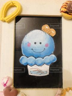 青,アート,アイスクリーム,黒板,ブルー,チョーク,ボード,チョークアート,インスタ映え