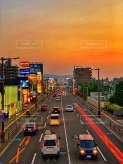 街を染まる夕焼けの写真・画像素材[3409193]