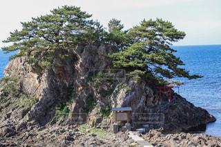 海に囲まれた孤島にある神社の写真・画像素材[2206849]