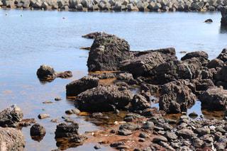 沢山の岩と綺麗な海の景色の写真・画像素材[2329682]