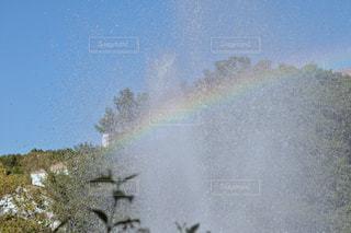 空,青空,水,虹,水滴,レインボー,噴水