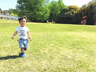 草の上に立っている小さな男の子の写真・画像素材[2110604]