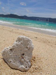自然,海,屋外,砂浜,波,海辺,海岸,ハート型,ハート,奄美大島,珊瑚礁,ハートの形,暑い日,ハートの珊瑚