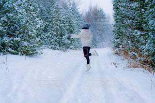 冬の森の中でジャンプする女性の写真・画像素材[2813235]