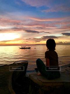 自然,海,南国,ビーチ,ボート,夕焼け,夕暮れ,海岸,パーム,半袖