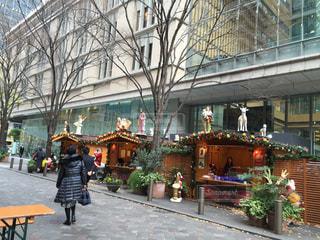 女性,風景,建物,花,屋外,人物,人,クリスマス ツリー