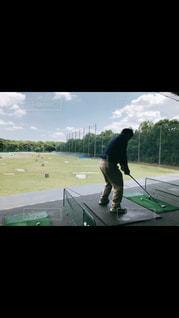 空,後ろ姿,人物,背中,人,ゴルフ,じーちゃん