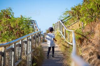 坂を駆け上がっる男の子の写真・画像素材[2221035]