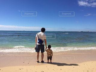 海,親子,後ろ姿,ハワイ