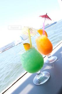 海,晴天,青,オレンジ,グラス,カクテル,乾杯,グリーン,ドリンク,クルーザー