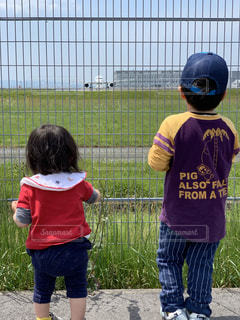 子ども,飛行機,兄妹,お見送り