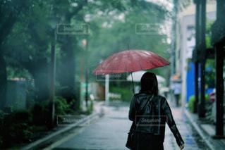 傘を持って雨の中を歩く女性の写真・画像素材[2222125]