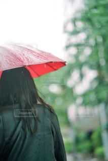 傘を持って雨の中を歩く女性の写真・画像素材[2222181]