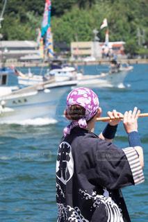 海,人物,背中,漁船,祭,笛