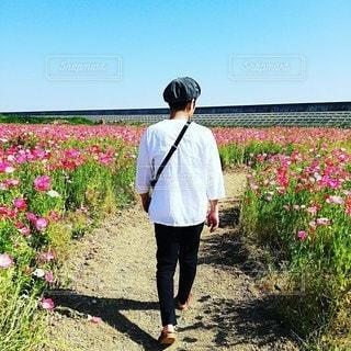 男性,家族,恋人,1人,風景,空,花,屋外,草,人,立つ,草木
