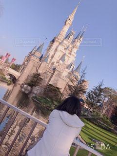 女性,風景,空,屋外,後ろ姿,樹木,人物,背中,人,後姿,シンデレラ城,夢の国