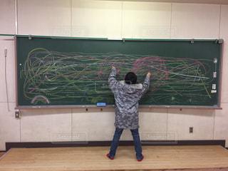 子ども,カラフル,後ろ姿,アート,黒板,チョーク