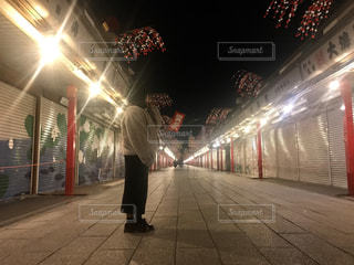 夜,浅草,旅行,照明,ピカピカ