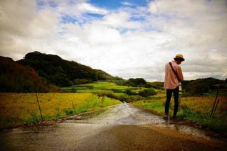 自然,風景,空,屋外,後ろ姿,景色,人物,背中,人,後姿,雨上がり,草木