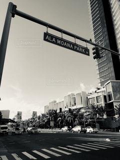 空,街並み,屋外,雲,信号,交差点,ハワイ,フィルム,フィルム写真,フィルムフォト