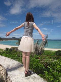 女性,風景,空,ビーチ,スカート,人物,人