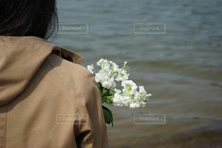 女性,風景,花,湖,花束,後ろ姿,水面,人物,人