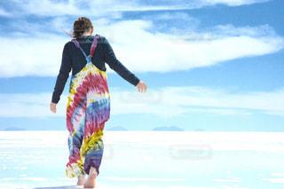 自然,風景,後ろ姿,女の子,大自然,ウユニ塩湖,ボリビア
