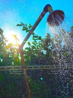 海,空,夏,海水浴,屋外,太陽,緑,青空,青,水,葉っぱ,水滴,シャワー,ブルー,雫,夏休み,グリーン,summer,サマー,しずく,滴