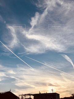 風景,夕日,屋外,太陽,雲,夕焼け,夕方,光,飛行機雲,天気,眺め,気象,クラウド,空模様