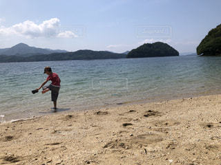 海,きれい,帽子,散歩,子供