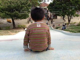 公園,後ろ姿,子供,滑り台,遊び