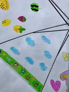 空,傘,イラスト,曇り,フルーツ,手書き,ビニール傘