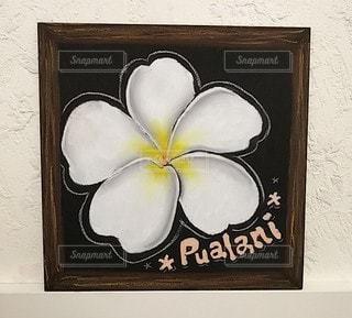 花,アート,額縁,ハワイアン,プルメリア,チョークアート,ブラックボード