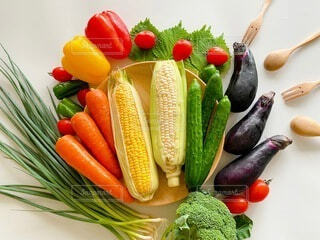 食べ物,フォーク,スプーン,トマト,野菜,食品,デザイン,ピーマン,装飾,ネギ,大葉,食材,パプリカ,フレッシュ,ベジタブル,ナス,胡瓜,とうもろこし