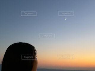 女性,自然,風景,空,女の子,少女,月,グラデーション