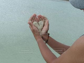 海,屋外,砂,手,ハート,マーク