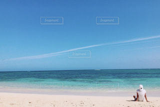 1人,海,青空,後ろ姿,飛行機雲,ハワイ,黄昏,落ち着く,インスタ映え