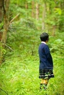 女性,1人,風景,ショートカット,森林,木,屋外,緑,後ろ姿,景色,草,樹木,スカート,新緑,人,後姿,制服,草木,短髪