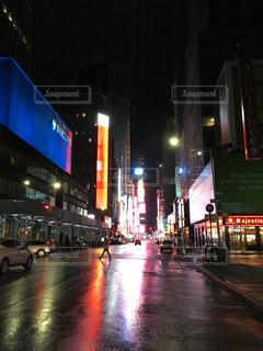 夜,雨,屋外,高層ビル,通り