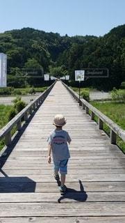 風景,橋,木,屋外,晴天,後ろ姿,歩く,帽子,川,山,影,子供,背中,道,少年,男の子,木造,まっすぐ,静岡県,世界一,蓬莱橋,4才