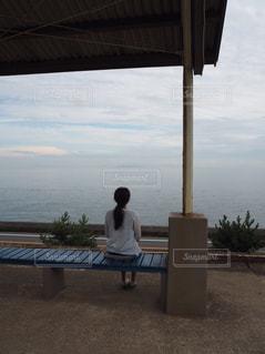 自然,夏,後ろ姿,海岸,景色,旅行,お洒落,下灘駅,インスタ映え,レジャー・趣味