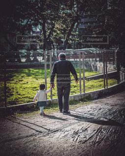 家族,屋外,後ろ姿,人物,背中,人,後姿,孫,ほのぼの,お爺ちゃん